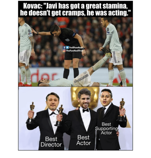 """Best Actor: KovaC: """"Javi has got a great stamina,  he doesn't get cramps, he was acting.""""  fTrollFootball  O TheFootballTroll  Best  Supporting  Actor  Best  Director  Best  Actor"""