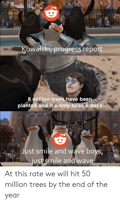 End Of The Year: Kowalski, progress report  8 million trees have been  planted and it's only been 5 days  Just smile and wave boys,  just smile and wave At this rate we will hit 50 million trees by the end of the year