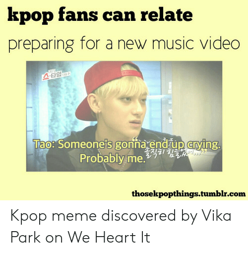 Funny Kpop Memes: kpop fans can relate  preparing for a new music video  A-E1g  Tao: Someone's gonna end up crying.  Probably me.a1HE  thosekpopthings.tumblr.com Kpop meme discovered by Vika Park on We Heart It