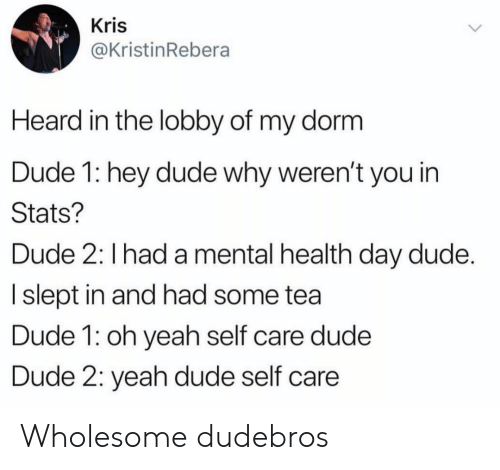 dorm: Kris  @KristinRebera  Heard in the lobby of my dorm  Dude 1: hey dude why weren't you in  Stats?  Dude 2: I had a mental health day dude.  I slept in and had some tea  Dude 1: oh yeah self care dude  Dude 2: yeah dude self care Wholesome dudebros