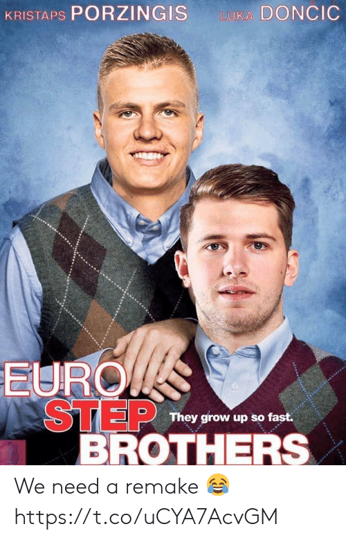 Step Brothers: KRISTAPS PORZINGIS  LUKA DONCIC  EURO  STEP  BROTHERS  They grow up so fast. We need a remake 😂 https://t.co/uCYA7AcvGM