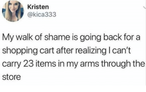 shopping cart: Kristen  @kica333  My walk of shame is going back for a  shopping cart after realizing I can't  carry 23 items in my arms through the  store