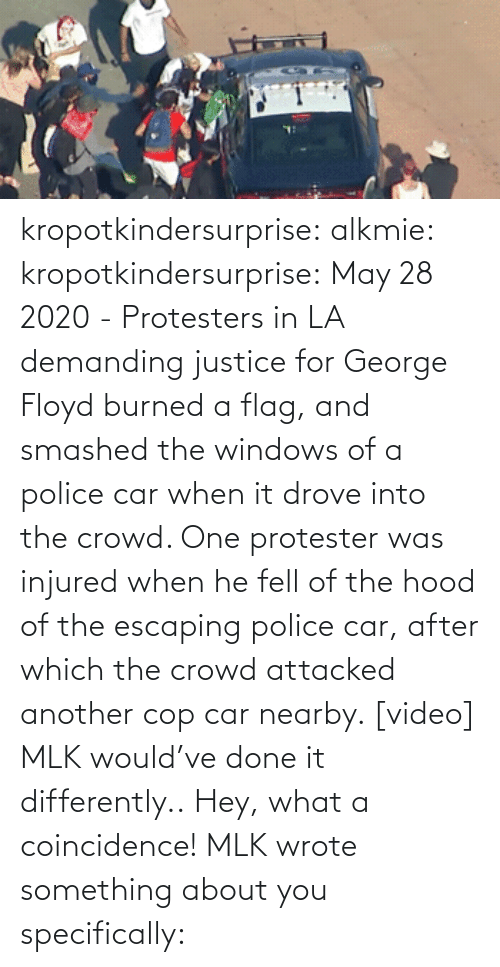 Into: kropotkindersurprise:  alkmie: kropotkindersurprise: May 28 2020 - Protesters in LA demanding justice for George Floyd burned a flag, and smashed the windows of a police car when it drove into the crowd. One protester was injured when he fell of the hood of the escaping police car, after which the crowd attacked another cop car nearby. [video]   MLK would've done it differently..  Hey, what a coincidence! MLK wrote something about you specifically: