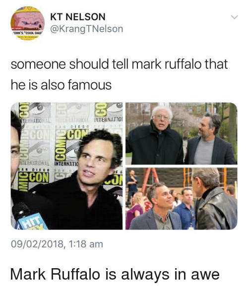 """Cool Dad: KT NELSON  @KrangTNelson  ORK'S """"COOL DAD  someone should tell mark ruffalo that  he is also famous  THRİİ INTERNATIO!  CO  ERMATIONAL  TERNATIO 뇨  09/02/2018, 1:18 am Mark Ruffalo is always in awe"""