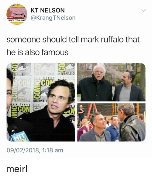 """Cool Dad: KT NELSON  @KrangTNelson  ORK'S """"cOOL DAD  someone should tell mark ruffalo that  he is also famous  INTERNATIO  CO  CO  ERNATIONAL  TERNATIO  09/02/2018, 1:18 am meirl"""
