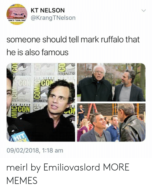 """Cool Dad: KT NELSON  @KrangTNelson  ORK'S """"cOOL DAD  someone should tell mark ruffalo that  he is also famous  INTERNATIO  CO  CO  ERNATIONAL  TERNATIO  09/02/2018, 1:18 am meirl by Emiliovaslord MORE MEMES"""