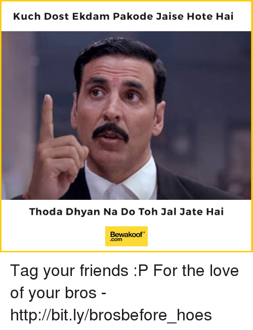 "kuching: Kuch Dost Ekdam Pakode Jaise Hote Hai  Thoda Dhyan Na Do Toh Jal Jate Hai  Bewakoof""  .com Tag your friends :P  For the love of your bros - http://bit.ly/brosbefore_hoes"