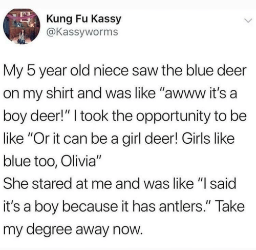 """kung fu: Kung Fu Kassy  @Kassyworms  My 5 year old niece saw the blue deer  on my shirt and was like """"awww it's a  boy deer!"""" I took the opportunity to be  like """"Or it can be a girl deer! Girls like  blue too, Olivia""""  She stared at me and was like """"l said  it's a boy because it has antlers."""" Take  my degree away now"""