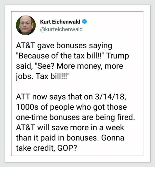 Trump Tax How Much Will I Save: Kurt Eichenwald AT&T Gave Bonuses Saying Because Of The
