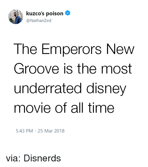 disney movie: : kuzco's poison  @NathanZed  The Emperors New  Groove is the most  underrated disney  movie of all time  5:43 PM-25 Mar 2018 via: Disnerds