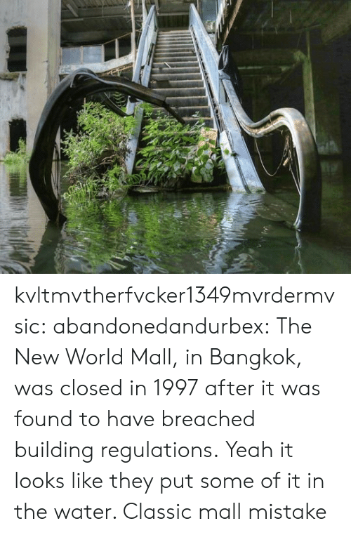 mall: kvltmvtherfvcker1349mvrdermvsic: abandonedandurbex:  The New World Mall, in Bangkok, was closed in 1997 after it was found to have breached building regulations.  Yeah it looks like they put some of it in the water. Classic mall mistake