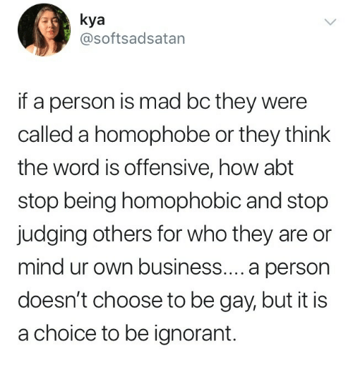 homophobe: kya  @softsadsatan  if a person is mad bc they were  called a homophobe or they think  the word is offensive, how abt  stop being homophobic and stop  judging others for who they are or  mind ur own business.... a person  doesn't choose to be gay, but it is  a choice to be ignorant.