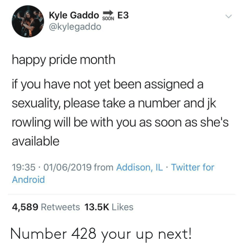 rowling: Kyle Gaddo  @kylegaddo  E3  SOON  happy pride month  if you have not yet been assigned a  sexuality, please take a number and jk  rowling will be with you as soon as she's  available  19:35 01/06/2019 from Addison, IL Twitter for  Android  4,589 Retweets 13.5K Likes Number 428 your up next!