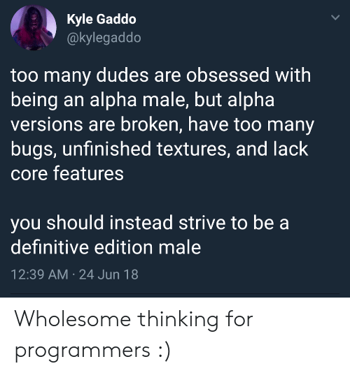 textures: Kyle Gaddo  @kylegaddo  too many dudes are obsessed with  being an alpha male, but alpha  versions are broken, have too many  bugs, unfinished textures, and lack  core features  you should instead strive to be a  definitive edition male  12:39 AM 24 Jun 18  > Wholesome thinking for programmers :)