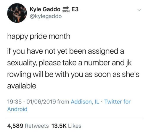 rowling: Kyle Gaddo SoN E3  @kylegaddo  happy pride month  if you have not yet been assigned a  sexuality, please take a number and jk  rowling will be with you as soon as she's  available  19:35 01/06/2019 from Addison, IL Twitter for  Android  4,589 Retweets 13.5K Likes