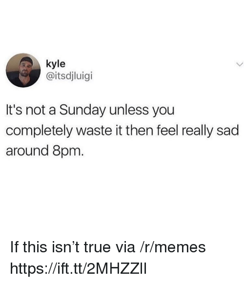 Memes, True, and Sunday: kyle  @itsdjluigi  It's not a Sunday unless you  completely waste it then feel really sad  around 8pm. If this isn't true via /r/memes https://ift.tt/2MHZZlI