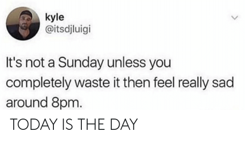 today is the day: kyle  @itsdjluigi  It's not a Sunday unless you  completely waste it then feel really sad  around 8pm TODAY IS THE DAY