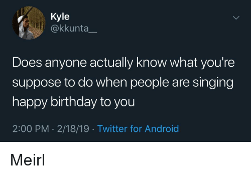 happy birthday to you: Kyle  @kkunta_  Does anyone actually know what you're  suppose to do when people are singing  happy birthday to you  2:00 PM - 2/18/19 Twitter for Android Meirl