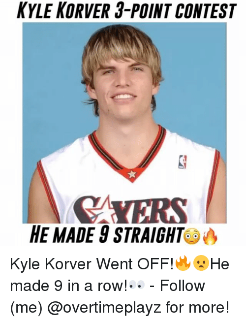 Kyle Korver: KYLE KORVER 3-POINT CONTEST  MYERS  HE MADE 8 STRAIGHT Kyle Korver Went OFF!🔥😦He made 9 in a row!👀 - Follow (me) @overtimeplayz for more!