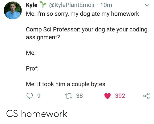 comp: Kyle@KylePlantEmoji 10m  Me: I'm so sorry, my dog ate my homework  Comp Sci Professor: your dog ate your coding  assignment?  Me:  Prof  Me: it took him a couple bytes CS homework