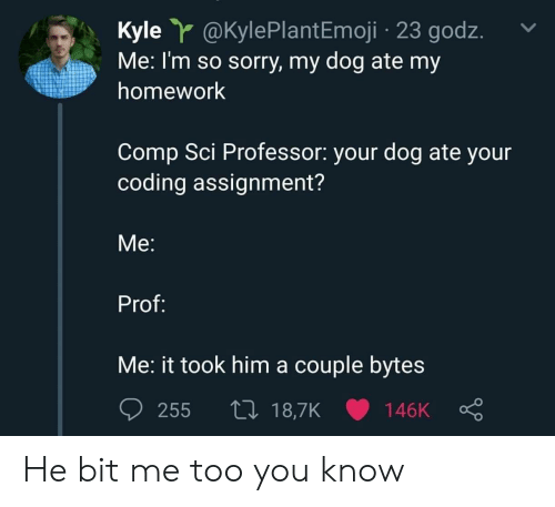 sci: Kyle @KylePlantEmoji 23 godz.  Me: I'm so sorry, my dog ate my  homework  Comp Sci Professor: your dog ate your  coding assignment?  Me:  Prof:  Me: it took him a couple bytes  255 t0 18,7K 146K He bit me too you know