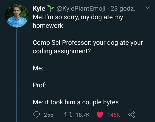 sci: Kyle@KylePlantEmoji 23 godz.  Me: I'm so sorry, my dog ate my  homework  Comp Sci Professor: your dog ate your  coding assignment?  Me:  Prof:  Me: it took him a couple bytes  t 18,7K 146K  255