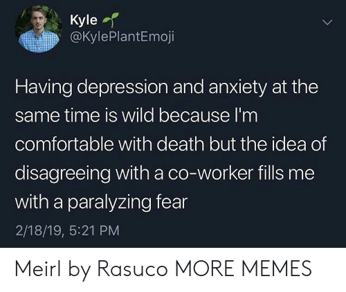 Depression And Anxiety: Kyle  @KylePlantEmoji  Having depression and anxiety at the  same time is wild because l'm  comfortable with death but the idea of  disagreeing with a co-worker fills me  with a paralyzing fear  2/18/19, 5:21 PM Meirl by Rasuco MORE MEMES