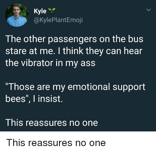 """Passengers: Kyle  @kylePlantEmoji  The other passengers on the bus  stare at me. I think they can hear  the vibrator in my ass  """"Those are my emotional support  bees"""", I insist.  This reassures no one This reassures no one"""