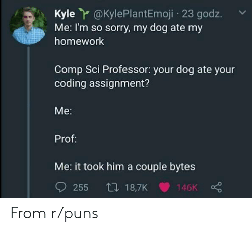 sci: Kyle r@KylePlantEmoji 23 godz.  Me: I'm so sorry, my dog ate my  homework  Comp Sci Professor: your dog ate your  coding assignment?  Me:  Prof:  Me: it took him a couple bytes From r/puns
