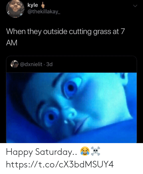 cutting: kyle  @thekillakay  When they outside cutting grass at 7  AM  @dxnielit 3d Happy Saturday.. 😂☠️ https://t.co/cX3bdMSUY4
