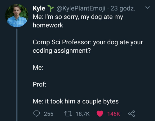 sci: Kyle Y @KylePlant Emoji 23 godz  Me: I'm so sorry, my dog ate my  homework  Comp Sci Professor: your dog ate your  coding assignment?  Мe:  Prof:  Me: it took him a couple bytes  L 18,7K  255  146K