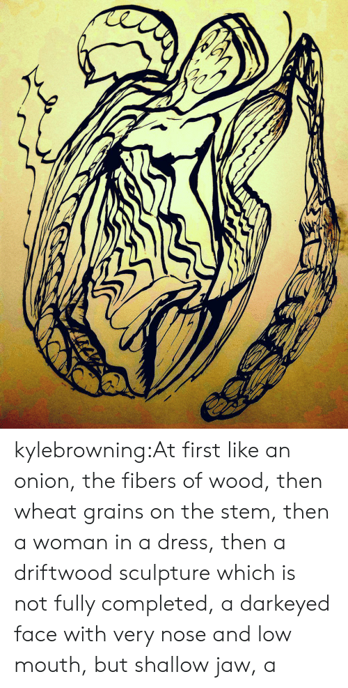 driftwood: kylebrowning:At first like an onion, the fibers of wood, then wheat grains on the stem, then a woman in a dress, then a driftwood sculpture which is not fully completed, a darkeyed face with very nose and low mouth, but shallow jaw, a