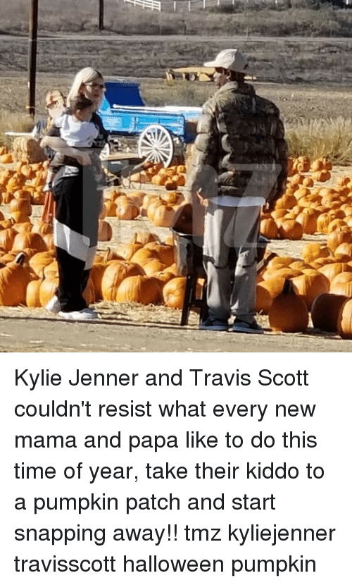 kyliejenner: Kylie Jenner and Travis Scott couldn't resist what every new mama and papa like to do this time of year, take their kiddo to a pumpkin patch and start snapping away!! tmz kyliejenner travisscott halloween pumpkin