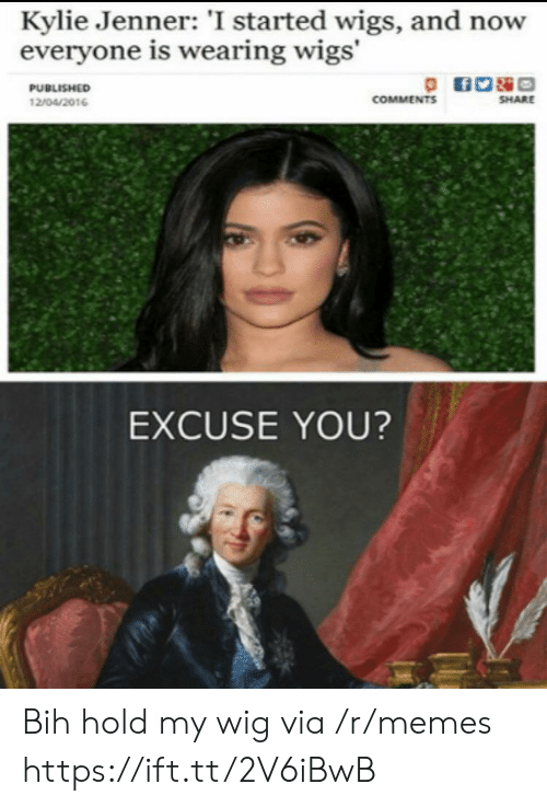 Kylie Jenner: Kylie Jenner: 'I started wigs, and now  everyone is wearing wigs'  PUBLISHED  COMMENTS  SHARE  12/04/2016  EXCUSE YOU? Bih hold my wig via /r/memes https://ift.tt/2V6iBwB