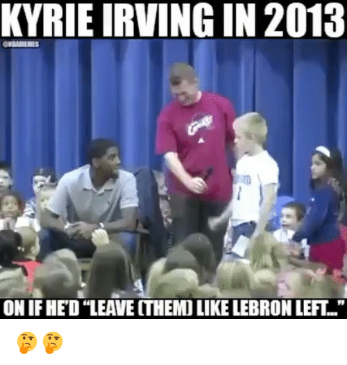 "Basketball, Kyrie Irving, and Sports: KYRIE IRVING IN 2013  ON IF HED ""LEAVE ITHEMO LIKE LEBRON LEFT.."" 🤔🤔"
