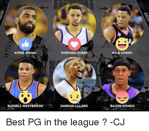 Kyle Lowry, Kyrie Irving, and Memes: KYRIE IRVING  RUSSELL WESTBROOK  STEPHEN CURRY  DAMIAN LILLARD  KYLE LOWRY  RAJON RONDO Best PG in the league ?  -CJ