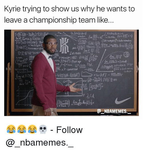 Memes, 🤖, and Crossover: Kyrie trying to show us why he wants to  leave a championship team like..  05)  Crossover  lo9162 319  keb M 에  (a  NBAMEMES 😂😂😂💀 - Follow @_nbamemes._