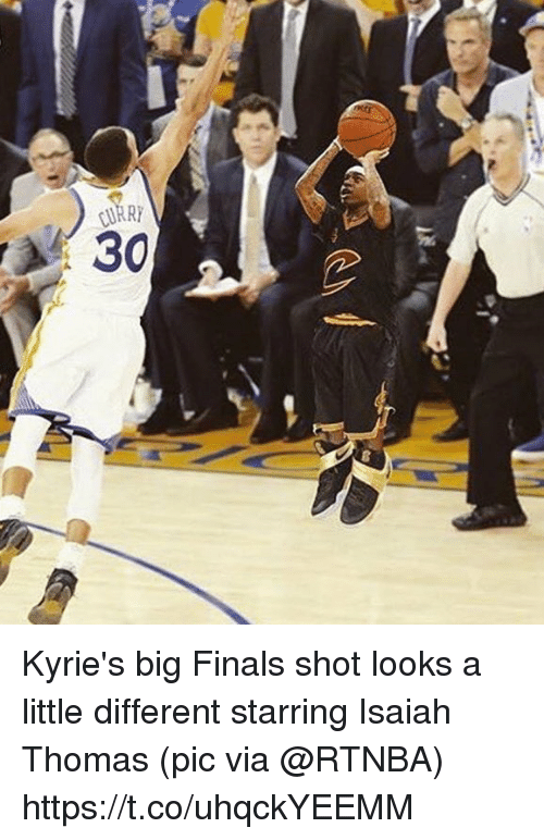 A Little Different: Kyrie's big Finals shot looks a little different starring Isaiah Thomas   (pic via @RTNBA) https://t.co/uhqckYEEMM