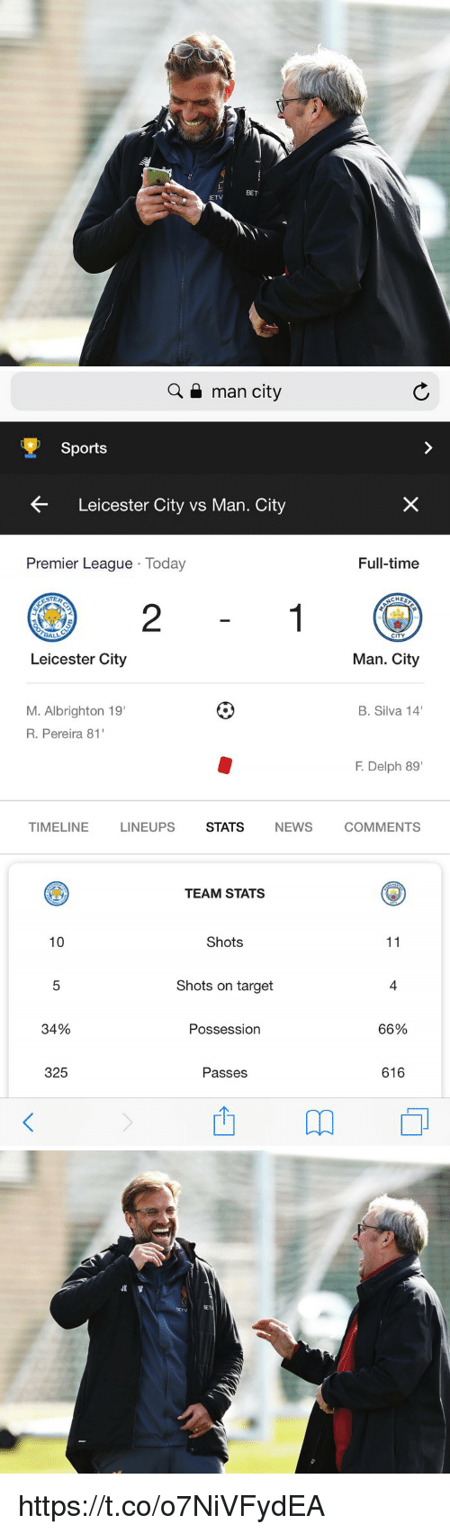 "Leicester: L.  125  BET  ETV   Q a man city  Sports  Leicester City vs Man. City  Premier League Today  Full-time  CHES  2  CITY  Leicester City  Man. City  M. Albrighton 19  R. Pereira 81  B. Silva 14  F. Delph 89""  TIMELINE  LINEUPS  STATS  NEWS  COMMENTS  TEAM STATS  10  Shots  Shots on target  4  34%  Possession  66%  325  Passes  616 https://t.co/o7NiVFydEA"
