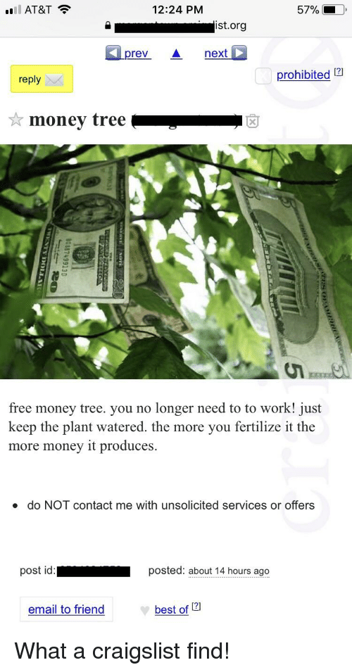 Craigslist, Funny, and Money: l AT&T  12:24 PM  5701  ist.org  prevA next  reply  prohibited 12  free money tree. you no longer need to to work! just  keep the plant watered, the more you fertilize it the  more money it produces.  do NOT contact me with unsolicited services or offers  st id  posted: about 14 hours ago  email to friend  best of 121