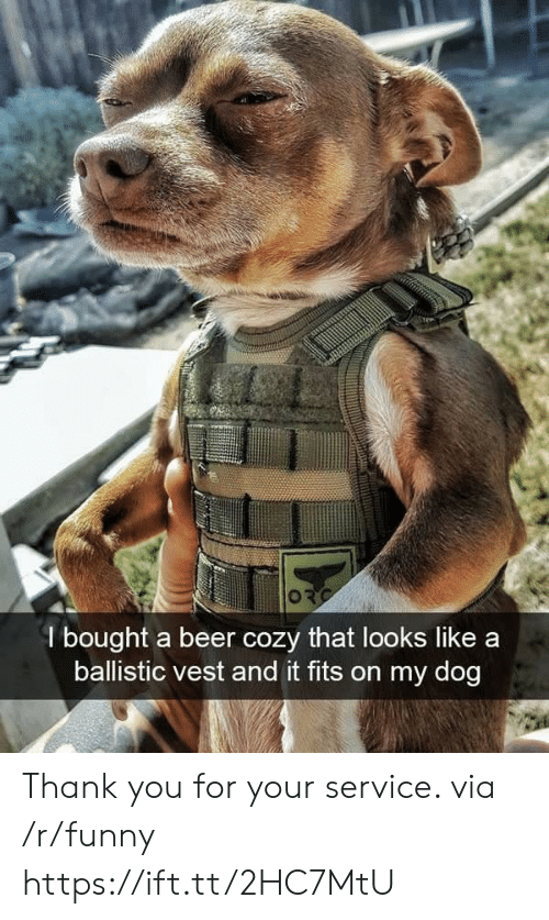 ballistic: l bought a beer cozy that looks like a  ballistic vest and it fits on my dog Thank you for your service. via /r/funny https://ift.tt/2HC7MtU