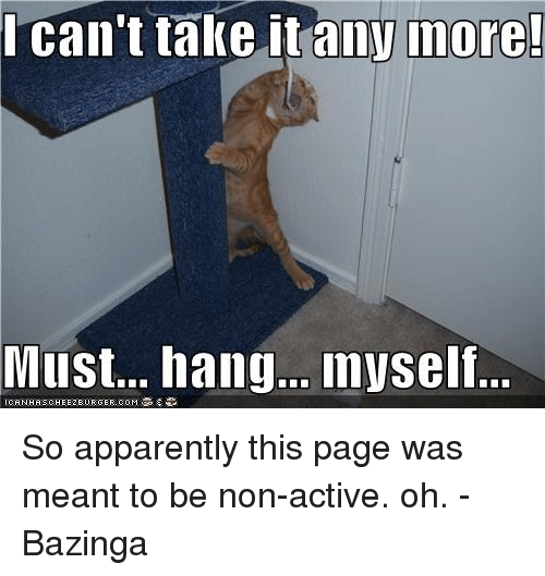 Apparently, Memes, and Bazinga: l can't take it anymore!  Must... hang... myself.. So apparently this page was meant to be non-active. oh. -Bazinga