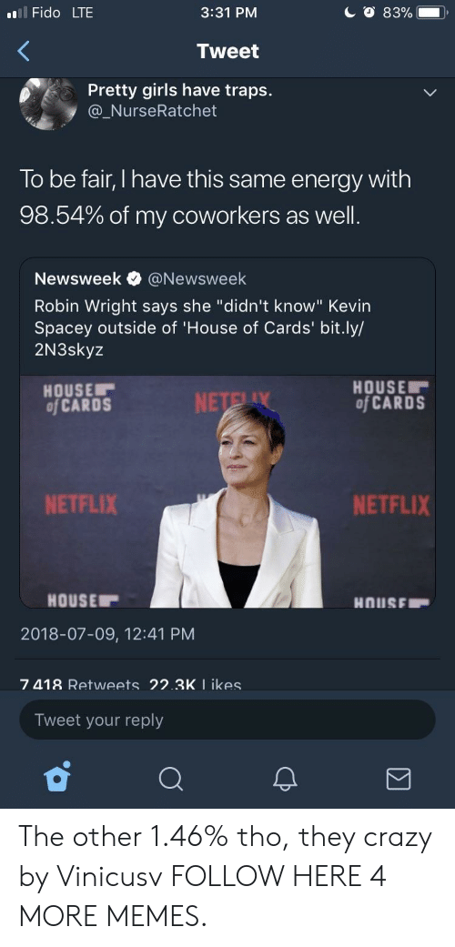 """House of Cards: l Fido LTE  3:31 PM  Tweet  Pretty girls have traps.  @_NurseRatchet  To be fair, I have this same energy with  98.54% of my coworkers as well  Newsweek e》 @Newsweek  Robin Wright says she """"didn't know"""" Kevin  Spacey outside of 'House of Cards' bit.ly/  2N3skyz  HOUSE  of CARDS  HOUSE  of CARDS  NETFLIX  NETFLIX  HOUSE  2018-07-09, 12:41 PM  7 418 Retweets 22.3K I ikes  Tweet your reply The other 1.46% tho, they crazy by Vinicusv FOLLOW HERE 4 MORE MEMES."""
