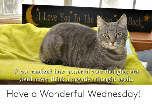 Have A Wonderful Wednesday: L.Love Yo o The n Back  If you realized how powerful your thoughts are  oud never think a negative thought again Have a Wonderful Wednesday!