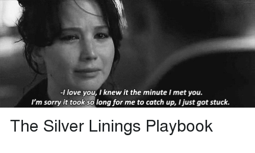 silver linings: -l love you, I knew it the minute Imet you.  I'm sorry it took so long for me to catch up, ljust got stuck. The Silver Linings Playbook