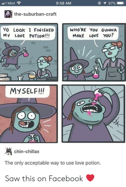 I Finished: l Mint  9:58 AM  1 97%  the-suburban-craft  Yo Look I FINISHED  MY LovE POTION!!!  WHO'RE You GUNNA  MAKE LOVE YOU?  MYSELF!IN  chin-chillax  The only acceptable way to use love potion. Saw this on Facebook ❤️