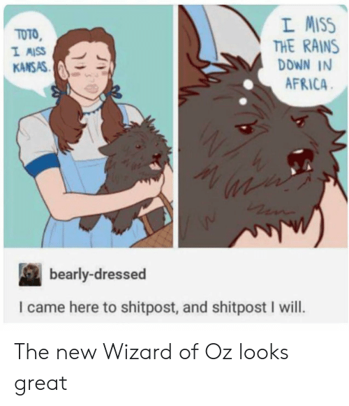 Wizard of Oz: L MISS  THE RAINS  DDWN IN  AFRICA  TOTO  KANSAS  bearly-dressed  I came here to shitpost, and shitpost I will. The new Wizard of Oz looks great