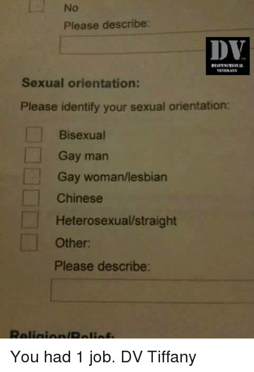 Lesbians, Memes, and Chinese: l No  Please describe:  DV  Sexual orientation:  Please identify your sexual orientation:  Bisexual  Gay man  Gay woman/lesbian  Chinese  Heterosexual/straight  Other:  Please describe: You had 1 job.  DV Tiffany