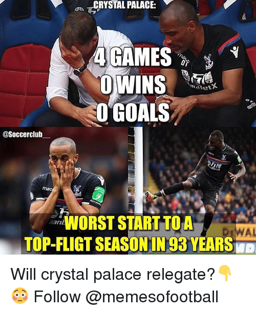 Goals, Memes, and 🤖: L PALACE:  O GOALS  @Soccerclulb  mac  O STARTTOA  TOP-FLIGT SEASONIN 93 YEARS  Mant  WAL Will crystal palace relegate?👇😳 Follow @memesofootball