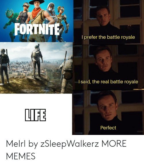 Battle Royale: l prefer the battle royale  l said, the real battle royale  LIFE  Perfect MeIrl by zSleepWalkerz MORE MEMES